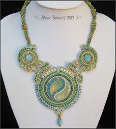 Golem Bemagal Green, Mint, Cream Soutache necklace