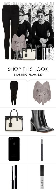 """""""Fall Day Out in London Spending Time with Niall"""" by elise-22 ❤ liked on Polyvore featuring Topshop, Yves Saint Laurent, Gianvito Rossi, MAC Cosmetics, shu uemura, NARS Cosmetics and ASOS"""
