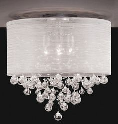 New Drum Shade 4 Lamp Flush Mount Crystal Balls Ceiling Light Chandelier Dia 20 Exterior Light Fixtures, Bedroom Light Fixtures, Kitchen Lighting Fixtures, Bedroom Lighting, Vanity Lighting, Exterior Lighting, Ceiling Light Fixtures, Ceiling Fan Chandelier, Chandelier Bedroom