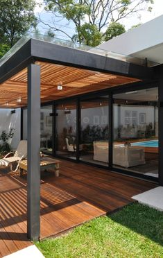 Pergola With Roof, Outdoor Pergola, Diy Pergola, Small Pergola, Metal Pergola, Pergola Lighting, Backyard Patio Designs, Backyard Landscaping, Patio Ideas