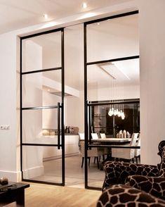 inspiration~ Double porte verrière d'atelier à galandage, idéal pour la séparation de 2 pièces de vie et très pratique au quotidien