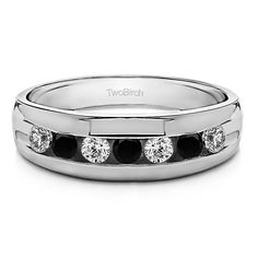 TwoBirch Men's Sterling Silver Wedding Fashion Ring with Black And White Cubic Zirconia Stones (Two Tone Sterling Silver, Size 4.5), Two-Tone