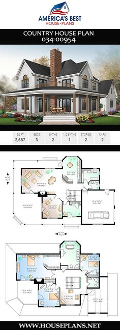 Country House Plan A stunning sq. Country house, Plan offers 3 bedrooms, 2 bathrooms, a wrap around porch, a home. House Plans 2 Story, Sims 4 House Plans, Porch House Plans, Basement House Plans, Family House Plans, Craftsman House Plans, Bedroom House Plans, Country House Plans, Dream House Plans
