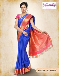 #Fashion #Womenclothing #Sareelove #SilkSarees #Kanchipuram Shop this Kanchipuram Silk Saree in the comfort of your home with free Shipping available within India.  Click here: http://www.vijayalakshmisilks.com/blue-kanchivaram-traditional-wear-functions