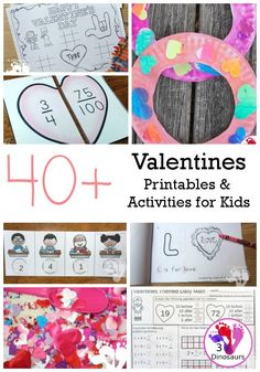 Valentines Activites from 3 Dinosaurs - a collection of printables, activities and crafts Valentine Sensory, Valentine Theme, Valentines Day Activities, Valentine Day Crafts, Happy Valentines Day, Kids Learning Activities, Easter Activities, Classroom Activities, Tree Watercolor Painting