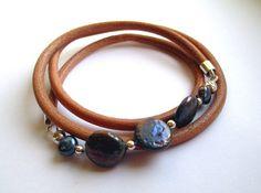 Sterling silver & freshwater pearl leather wrap bracelet £23.00
