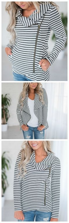 Reese Side Zip Striped Jacket - so dang cute and such a cute Fall outfit idea