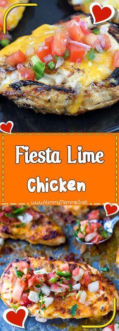 Fiesta Lime Chicken Via #yummymommiesnet #chickenrecipes chicken recipes #copycatrecipe copycat recipe #easyrecipes easy recipes #chickendinner chicken dinner recipes #chickensalad chicken salad recipe #chickencasserole chicken casserole recipes