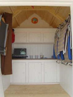 Many beach huts in the UK have storage, seating and dining options ...