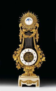 """c1785 GRAND-LYRE CLOCK """"SQUELETTE"""" WITH MOONPHASE, Louis XVI, the dial signed. J. COTEAU (Jean Coteau, Geneva 1740-1801 Paris), the movement and plaque signed J.S. BOURDIER (Jean-Simon Bourdier, Master 1787), Paris circa 1785."""