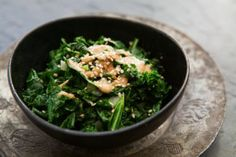 "Sauteed Kale with Tahini Sauce. ""The slightly bitter green kale does a happy dance with the acidic lemon and salty richness of the tahini sauce. Easy Kale Recipes, Simply Recipes, Detox Recipes, Whole Food Recipes, Vegetarian Recipes, Healthy Recipes, Detox Foods, Vegan Vegetarian, Kohlrabi Recipes"