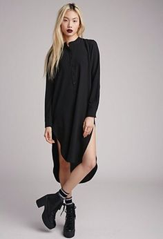dress black grunge shirt dress goth punk hipster gothic grunge midi harajuku…