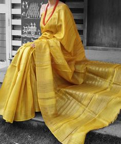 Elegant & Fine Tussar Silk Saree with woven patterns Indian Look, Indian Ethnic Wear, Ethnic Sarees, Indian Sarees, Ethnic Fashion, Indian Fashion, Indian Dresses, Indian Outfits, Saree Dress