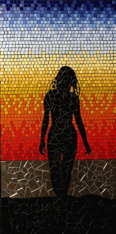 Shapely woman walking on the beach silhoetted against a deep red sunset. Sunset Silhoette mosaic mural in ceramic tiles by Brett Campbell Mosaics
