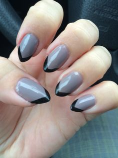 Grey with Black Tips for stiletto nails