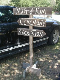 Pole Post Wood Wedding Sign Free Standing Bridal Personalized Names Three Boards Ceremony Reception Directional Arrow. $58.00, via Etsy.