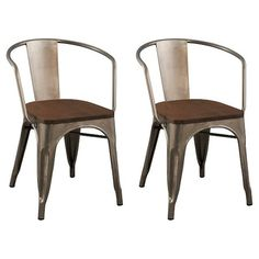 Carlisle Wood Seat Dining Chair - Natural Metal (Set of 2) : Target
