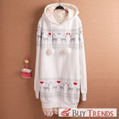 Latest Deer Print Lace Women Long Hoodie - BuyTrends.com