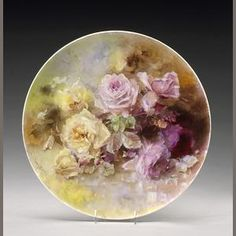 Franz Bischoff (1864-1929) Pink and Yellow Roses, 1901 diameter: 18in