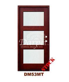 DM53MT 3 Lite Contemporary Exterior Wood Mahogany Door | Darpet Interior Doors for Chicago Builders