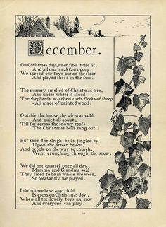 December poem, Katherine Pyle poetry, vintage christmas poem, black and white graphics, Christmas printable Christmas Poems, Christmas Images, All Things Christmas, Vintage Christmas, Christmas Tree, Christmas Readings, Christmas Journal, Black Christmas, Winter Christmas