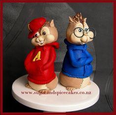The Chipmunks - Alvin and Simon fondant Cake toppers ~