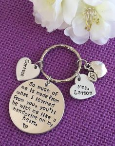 Sale - This keychain is a perfect gift for any teacher. Souch of me is made from what I learned from you, youll be with me like a handprint on my