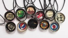 Classic Rock Bands Recycled Bottle Cap Necklace by JustinePaige, $7.95
