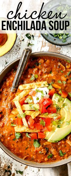 This Chicken Enchilada Soup is lusciously creamy and cheesy and bursting with fiesta flavors, juicy chicken, beans, corn and tomatoes then piled with all of your favorite toppings! Easy Soup Recipes, Chicken Recipes, Dinner Recipes, Kraft Recipes, Chicken Soups, Chicken Ideas, Rotisserie Chicken, Grilled Chicken, Cheesy Chicken Enchiladas