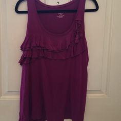 Magenta tank top Ruffles with lace ruffles. Wash inside out Lane Bryant Tops Tank Tops