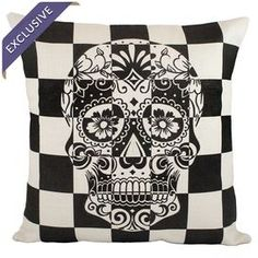 """Linen pillow with a sugar skull design. Handmade in the USA exclusively for Joss & Main.   Product: PillowConstruction Material: LinenColor: Black and ivoryFeatures:   Handmade by The Watson ShopEnvelope enclosureMade in the USAExclusive Joss & Main product Dimensions: 16"""" x 16""""Cleaning and Care: Dry clean only"""