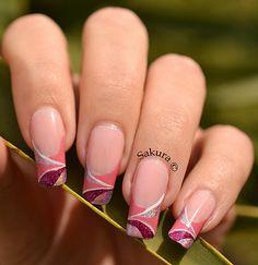 One stroke freehand nail art - http://yournailart.com/one-stroke-freehand-nail-art/ - #nails #nail_art #nails_design #nail_ ideas #nail_polish #ideas #beauty #cute #love