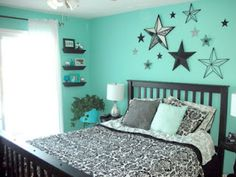 Turquoise & Black Bedroom. I like the stars. Not so much the turquoise.