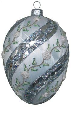 egg christmas ornament   Edward Bar Winter Rose Egg glass Christmas ornament   ornament ideas