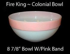 Fire King colonial pink band mixing bowl! Only for cakes made from scratch...