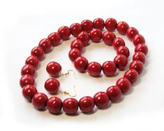 Red Wooden Bead necklace rockabilly necklace ukrainian style chunky wood necklace bracelet set red wooden earrings ethnic beads jewerly set material - Natural wood standard length - 46 cm / 18 in bead size - 20 mm You can only buy a bracelet -
