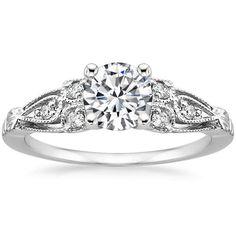 Lab Created Rosabel Diamond Engagement Ring - 18K White Gold