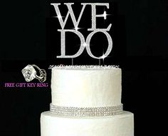 Lulu Sparkles LLC We DO crystal Rhinestone Bling Monogram Heart Diamante Wedding Cake topper Large Silver cake decoration *** Special discounts just for this time only  : Baking decorations