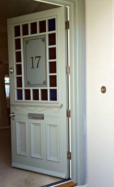1930s Door In The Devonshire Style With Margin Glazing In Grey 1930s Doors Stained Glass Door 1930s House Exterior
