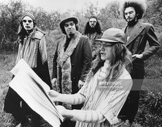 Bill Harkleroad aka Zoot Horn Rollo (guitar) and Captain Beefheart aka Don Van Vliet with other members of Captain Beefheart and His Magic Band pose for a portrait in circa 1970.