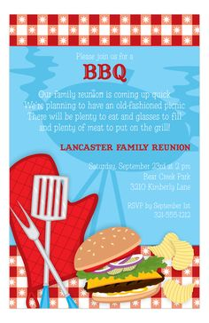 Are you thinking of holding a fun family reunion now that the weather is nice? Then plan on holding a picnic in forest preserves or fire up the grill in the backyard for a good ol' fashioned barbecue! Where ever you decide to hold your event, check out Polka Dot Design's invitation store and find the perfect cookout invitations for your event. The Backyard Picnic BBQ Cookout Invitations from Paper So Pretty Digital Designs is a faultless card for you to send out to family and/or friends.