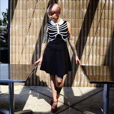 Beautiful in bones // Rib Cage Collar Sleeveless Dress