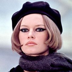 """Brigitte Bardot in 1968  She topped a chin-length bob with a sleek beret, perhaps giving a nod to the costume she wore to play Bonnie Parker in her """"Bonnie and Clyde"""" video with Serge Gainsbourg"""