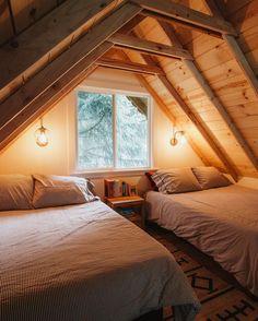 10 Clever Ways To Use Your Bonus Room - Cabin interiors - Attic Bedroom Designs, Attic Bedroom Small, Attic Bedrooms, Attic Loft, Bedroom Loft, Bedroom Decor, Attic Bathroom, A Frame Bedroom, Cozy Bedroom
