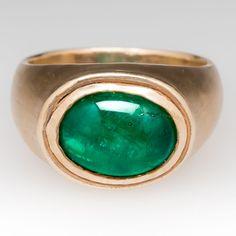 Mens 3 Carat Emerald Cabochon Ring 14K Brushed Finish