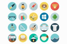 Free 50 Icons Set Icons Circular Flat Free Graphic Design Icon Long Shadow PSD Resource Round Vector