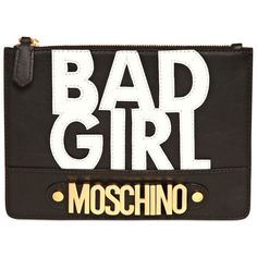 MOSCHINO Bad Girl Leather Pouch - Black/White ($237) ❤ liked on Polyvore featuring bags, handbags, clutches, accessories, sac, real leather purses, black and white purse, black and white clutches, genuine leather handbags and moschino