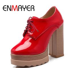 56.11$  Buy now - http://aliq6v.shopchina.info/1/go.php?t=32660884125 - ENMAYER New Fashion Pumps Patent Leather Shoes Casual Squre Toe Concise Sexy Casual Women Shoes Springg/Autumn High Heels Shoes  #SHOPPING