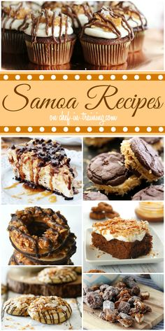Girl Scout Cookie Samoa Recipes - if you love chocolate, caramel and coconut then this is the list for you! Cupcake Recipes, Baking Recipes, Cookie Recipes, Cupcake Cakes, Dessert Recipes, Brownie Recipes, Sweet Desserts, Just Desserts, Sweet Recipes