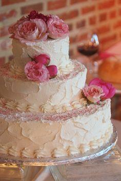 Vegan Wedding cake w/ pink frosting flowers | Vegan Wedding Cakes ...